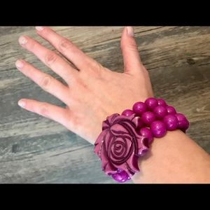 Jewelry - Fuchsia stretchy rose bracelet